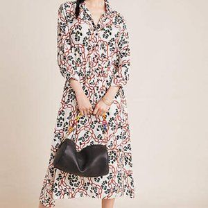 Anthropologie Henrietta Shirt Dress Leopard Chain